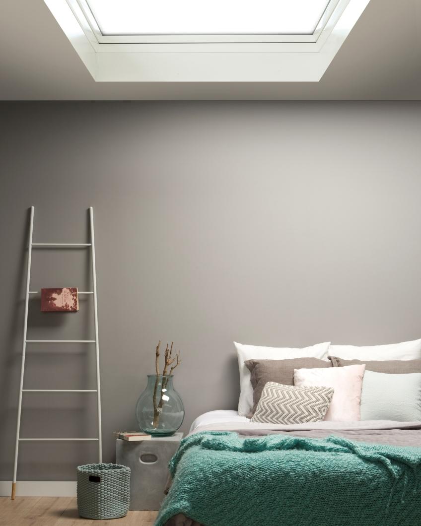 slaapkamer inspiratie slapen onder het platte dak lichtkoepel fakro