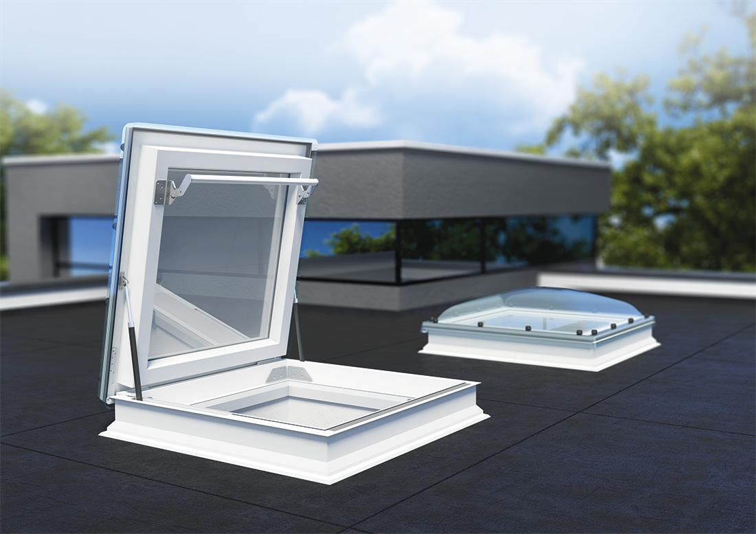 Nieuw fakro platdakraam en lichtkoepel met daktoegang for Lucernari calpestabili velux